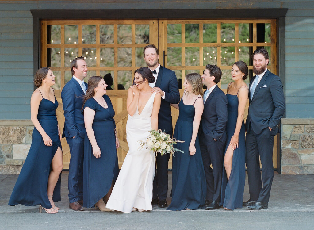 Layne and Vince wedding, The Lodge at Blue Sky, June wedding, Utah wedding, wedding party, navy bridesmaids' dresses