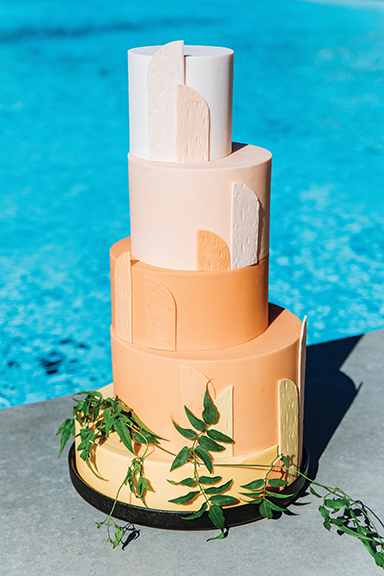Tiered cake by Flour & Flourish. Photo by Michael Cozzens.