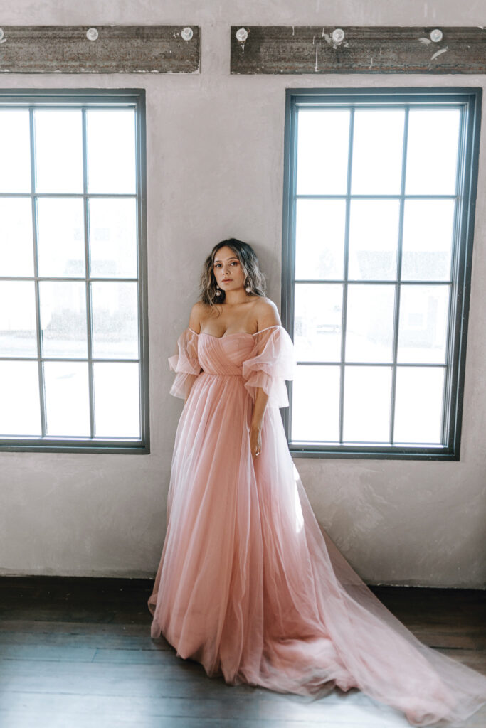 off-the-shoulder gowns